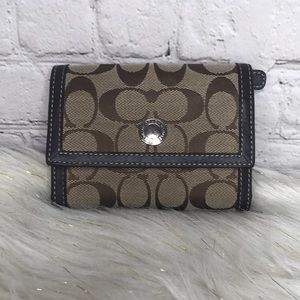 Coach Signature Tri Fold Wallet Brown Tan Canvas